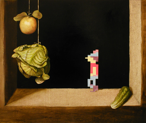 graham from kings quest walking in a cotan still life