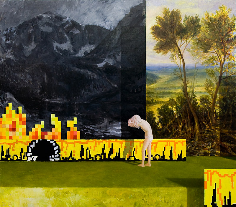 Change of set by kristoffer zetterstrand, claude lorrain and piero della francesca on a pixel scene