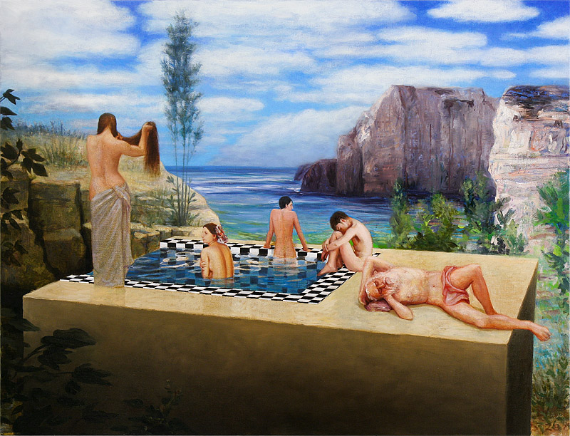 the pool,painting by Kristoffer Zetterstrand. david hockney, ingres, bellini, puvis de chavannes