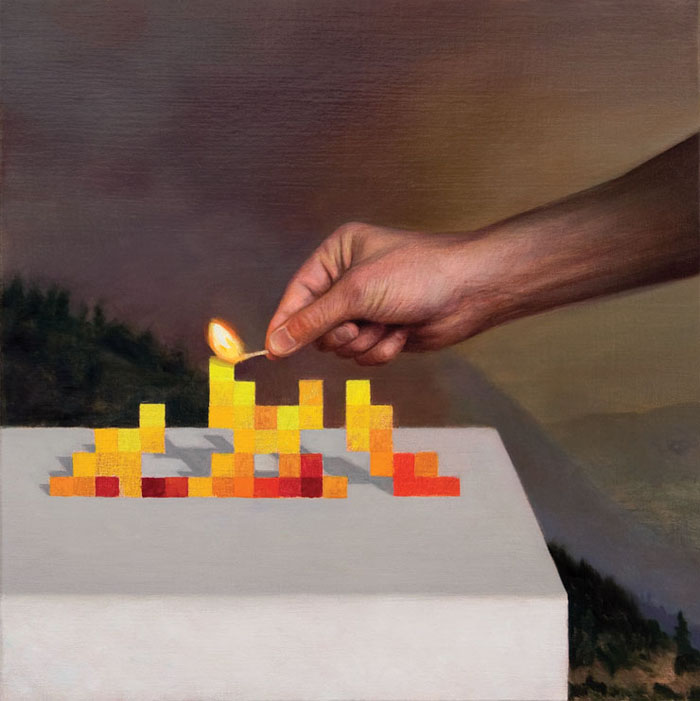 Match lingting a pixel fire, forest fire painting by Kristoffer Zetterstrand