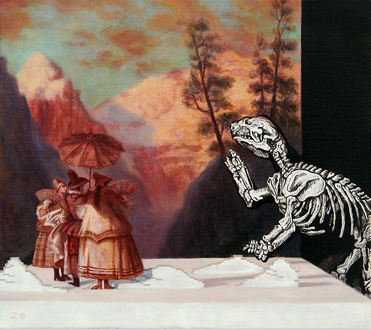 Evening with a prehistoric skeleton meeting resaissance painting by Kristoffer Zetterstrand