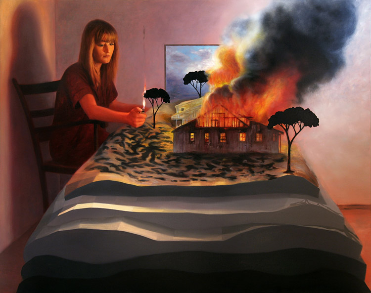 Set on fire, woman setting fire to a tree, burning house. painting by Kristoffer Zetterstrand